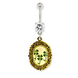 CLOVER CAMEO BELLY RING