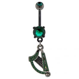 BLACK PVD COATED CELTIC HARP BELLY RING