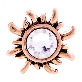 ROSE GOLD SUN WITH ROUND CLEAR GEM BARBELL