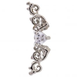 FILIGREE WITH CLEAR GEM HEART CENTER FOR TRAGUS OR HELIX