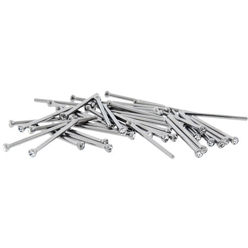 16G STEEL NOSE PINS W/ BEZEL SET CLEAR GEMS- 40 PC