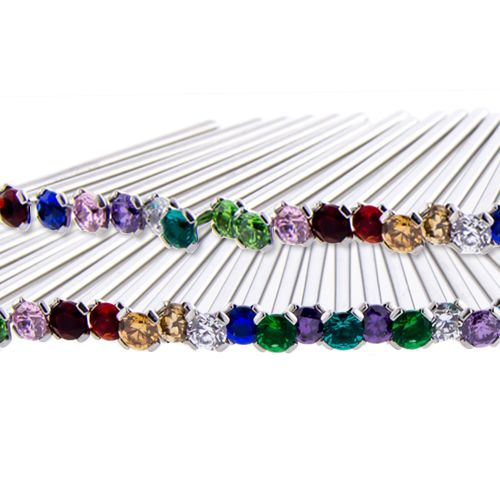 20G TITANIUM NOSE PIN BIRTHSTONE PRONG SET ASSORTMENT