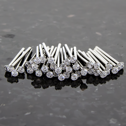 40 PIECE 20G TITANIUM NOSE CLEAR PRONG SET PINS