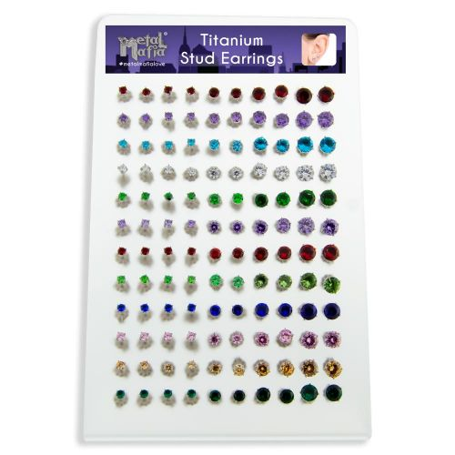 ASSORTED BIRTHSTONE EAR STUD DISPLAY