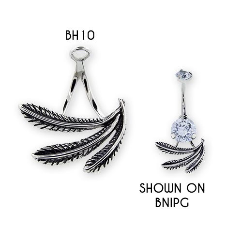 NAVEL RING HANGER WITH 3 FEATHERS