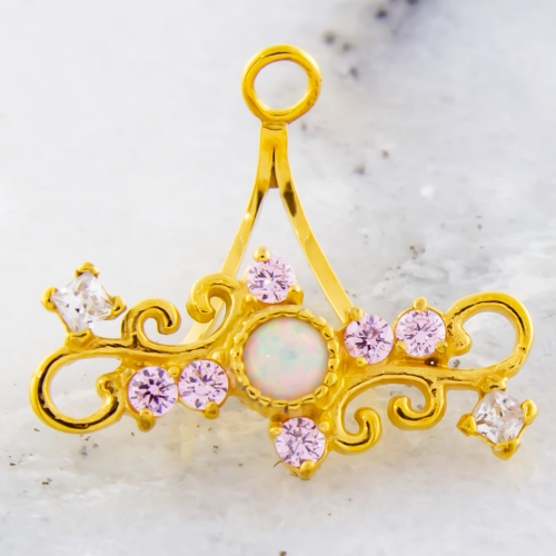 STEEL CAST GOLD PVD NAVEL RING HANGER WITH WHITE SYNTHETIC OPAL CENTER AND FILGREE DESIGN WITH LIGHT ROSE AND CLEAR GEMS