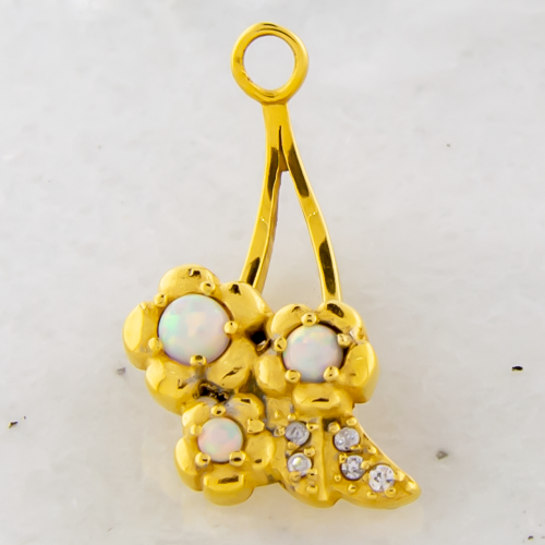 STEEL CAST GOLD PVD NAVEL RING HANGER WITH SYNTHETIC WHITE OPAL FLOWERS WITH CLEAR PAVE LEAVES