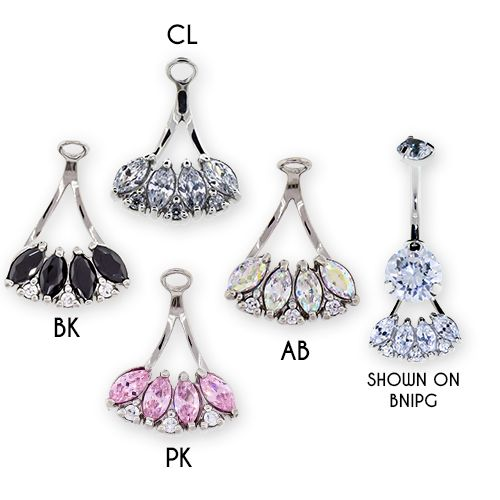 STEEL CAST NAVEL RING HANGER WITH PRONG SET AB MARQUISE GEMS AND CLEAR ROUND GEMS