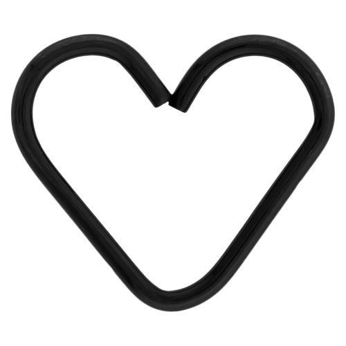 HEART SHAPED SEAMLESS RING 316L STEEL WITH BLACK PVD COATING 16G 1/2