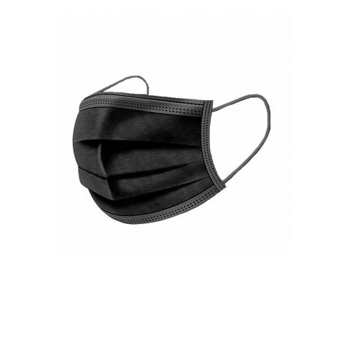 BLACK DISPOSABLE SINGLE USE FACE MASKS