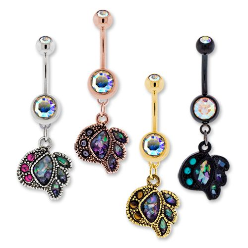 BLACK PVD COATED BNA ABALONE AND TURQUOISE DYED HOWLITE CABOCHON BELLY RING