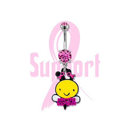 BREAST CANCER AWARENESS BELLY RING WITH BUMBLE BEE
