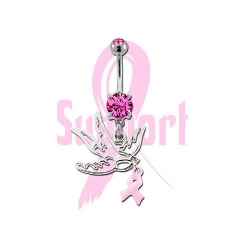 BREAST CANCER AWARENESS BELLY RING WITH SPARROW