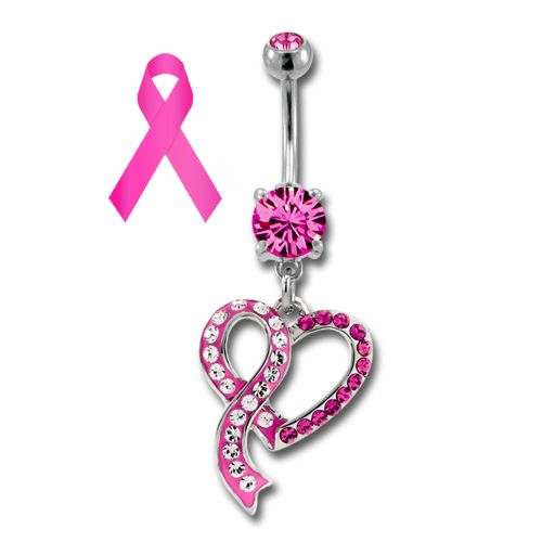 BREAST CANCER AWARENESS BELLY RING WITH HEART AND RIBBON