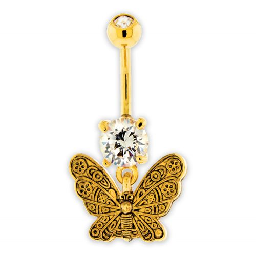 VINTAGE BUTTERFLY BELLY RING