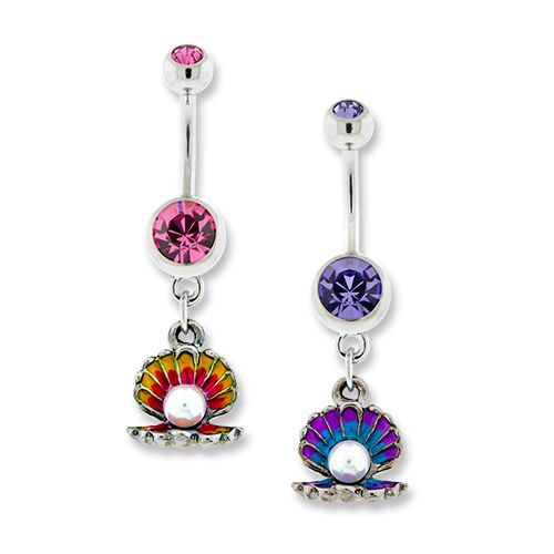 COLORFUL CLAM BELLY RING