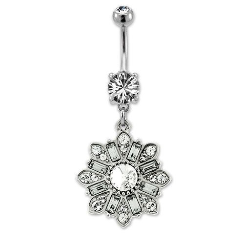CLEAR CZ CLUSTER BELLY RING