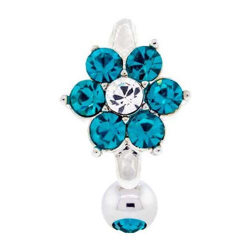 GEM FLOWER TOP DROP- BLUE ZIRCON