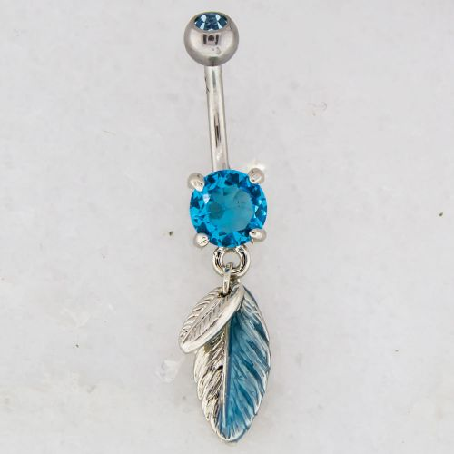 14G BELLY RING WITH FEATHER DANGLE-AQUA