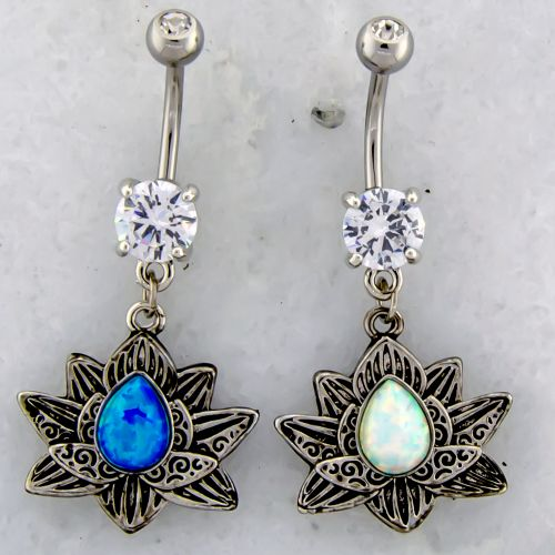 14G LOTUS BELLY RING WITH OPAL CENTER