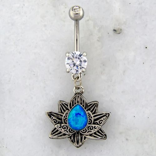 14G LOTUS BELLY RING WITH OPAL CENTER-BLUE OPAL