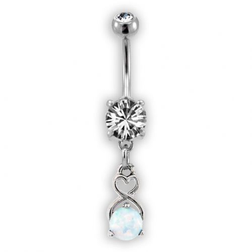 HEART AND OPAL BELLY RING - WHITE