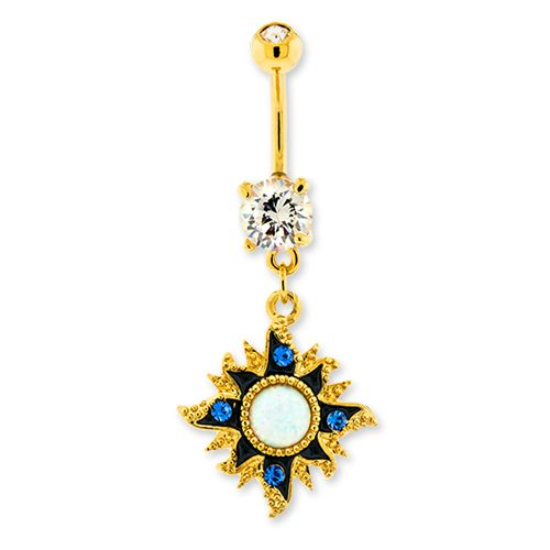 GOLD SUN WITH CENTER WHITE OPAL BELLY RING