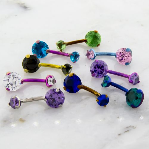 14G TITANIUM PRONG SET GEM BELLY RING