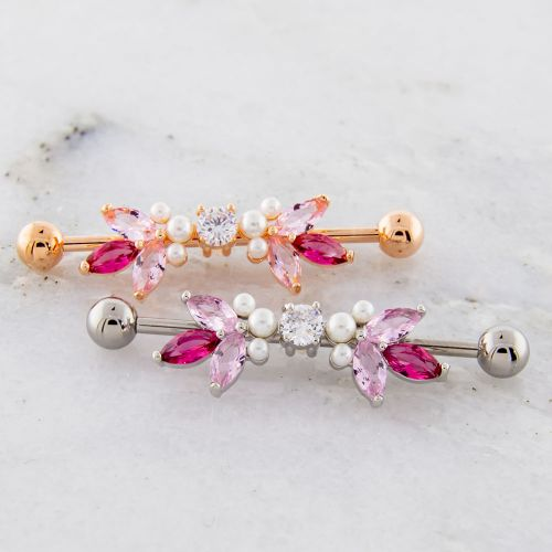 GEM AND PEARL ABSTRACT INDUSTRIAL BARBELL