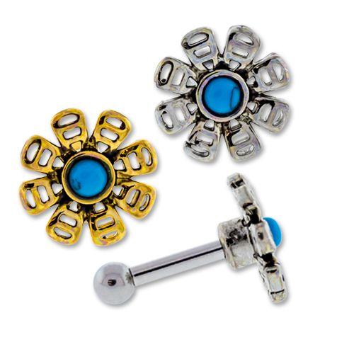 TURQUOISE HOWLITE FLOWER EAR BARBELL - GOLD