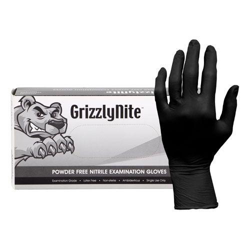 GrizzlyNite® Black Nitrile Powder Free Exam Gloves, 5 mil