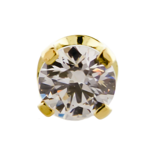 18KT Yellow Gold Prong Set Round Cut Cubic Zirconia-3MM-WHITE