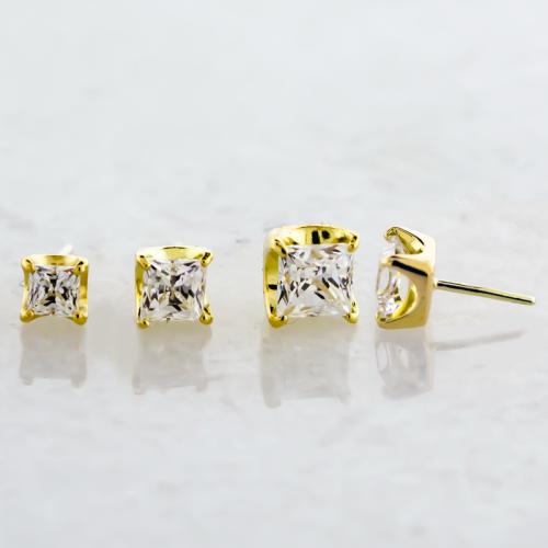 18KT Yellow Gold Prong Set Princess Cut Cubic Zirconia