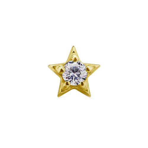 18KT GOLD THREADLESS STAR HEAD SET WITH PREMIUM ZIRCONIA-WHITE