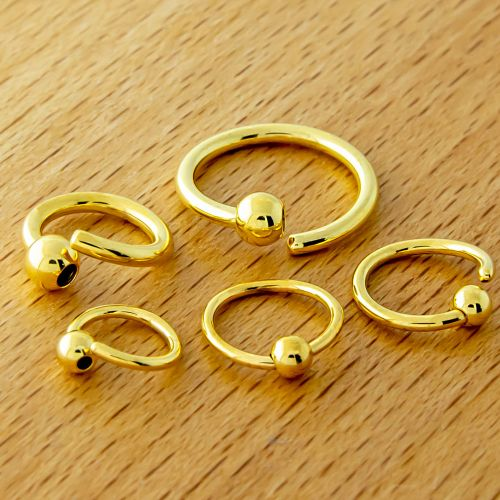 14G, 16G, 18G & 20G GOLD PVD FIXED BEAD CAPTIVE RING