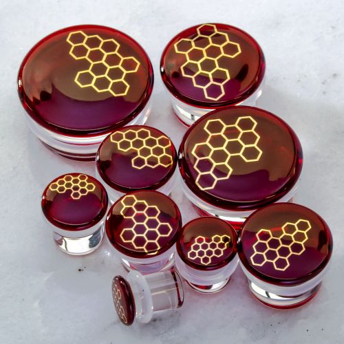 RED HONEYCOMB GLASS PLUGS