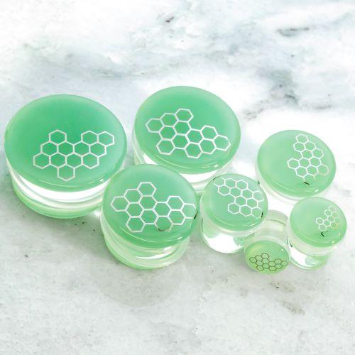 SILVER HONEYCOMB SEA GREEN GLASS PLUGS