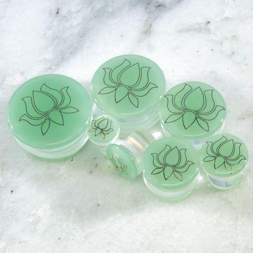SILVER LOTUS GLASS PLUGS
