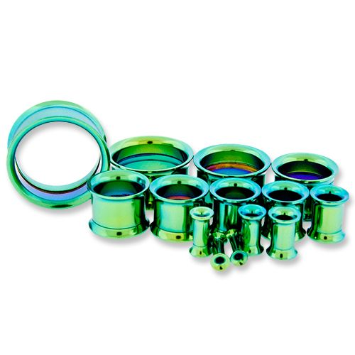 GREEN ANODIZED INTERNALLY THREADED TUNNELS