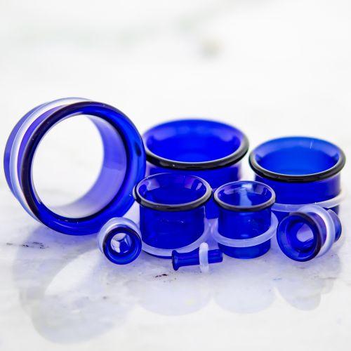 SINGLE FLARE BLUE BOROSILICATE GLASS TUNNELS