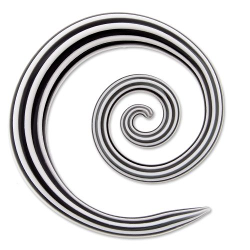 GLASS BLACK/ WHITE SPIRAL