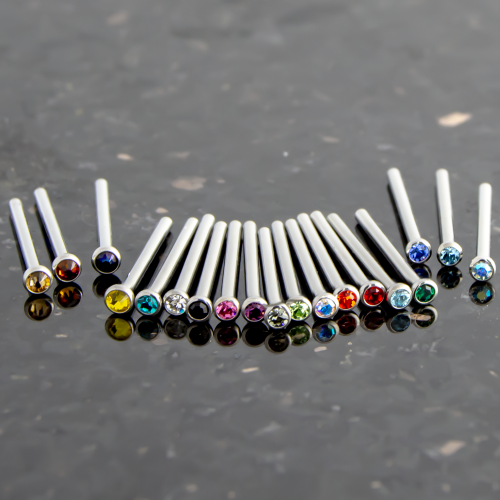 16G, 18G & 20G TITANIUM BEZEL SET GEM NOSE PINS
