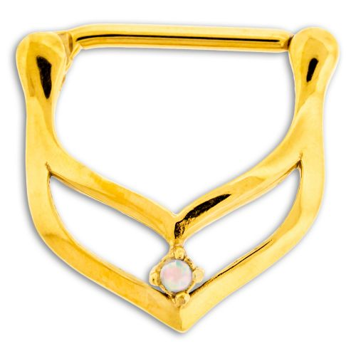 GOLD SURGICAL STEEL NIPPLE CLICKER- CHEVERON WITH WHITE OPAL GEM