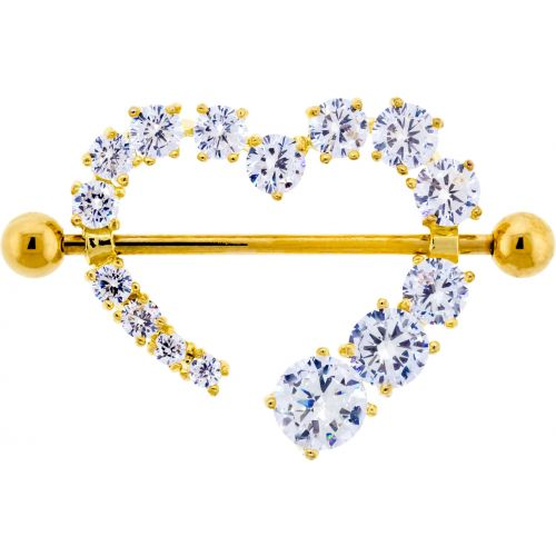 14G 7/8 GOLD NIPPLE SHIELD WITH CLEAR GEM HEART