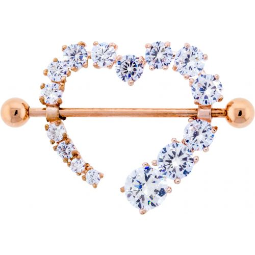 14G 7/8 ROSE GOLD NIPPLE SHIELD WITH CLEAR GEM HEART