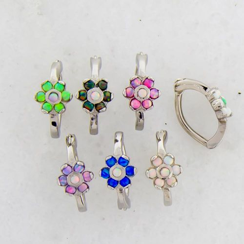 ROOK CLICKER 316L STEEL 16G 5/16 CURVED WITH 7 ROUND WHITE SYNTHETIC OPALS IN FLOWER FORMATION