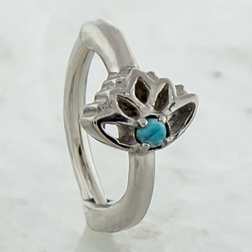 LOTUS FLOWER WITH TURQUOISE DYED HOWLITE ROOK CLICKER