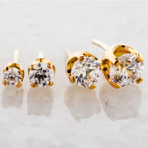 18KT Rose Gold Prong Set Round Cut Swarovski® Zirconia