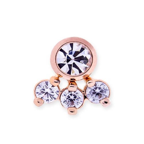 316L STEEL 14G INTERNALLY THREADED REPLACEMENT HEAD WITH ROSE GOLD TRIM AND LARGE AB GEM WITH THREE SMALL CLEAR CZ ACCENTS