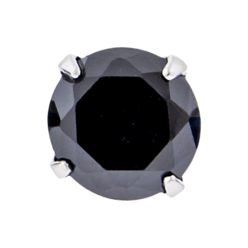 16G/18G STEEL ROUND GEM PRONG SET REPLACEMENT HEAD - BLACK 2.5MM